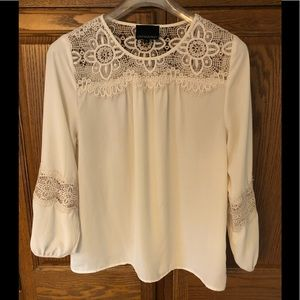Cynthia Rowley Medium cream blouse with lace.